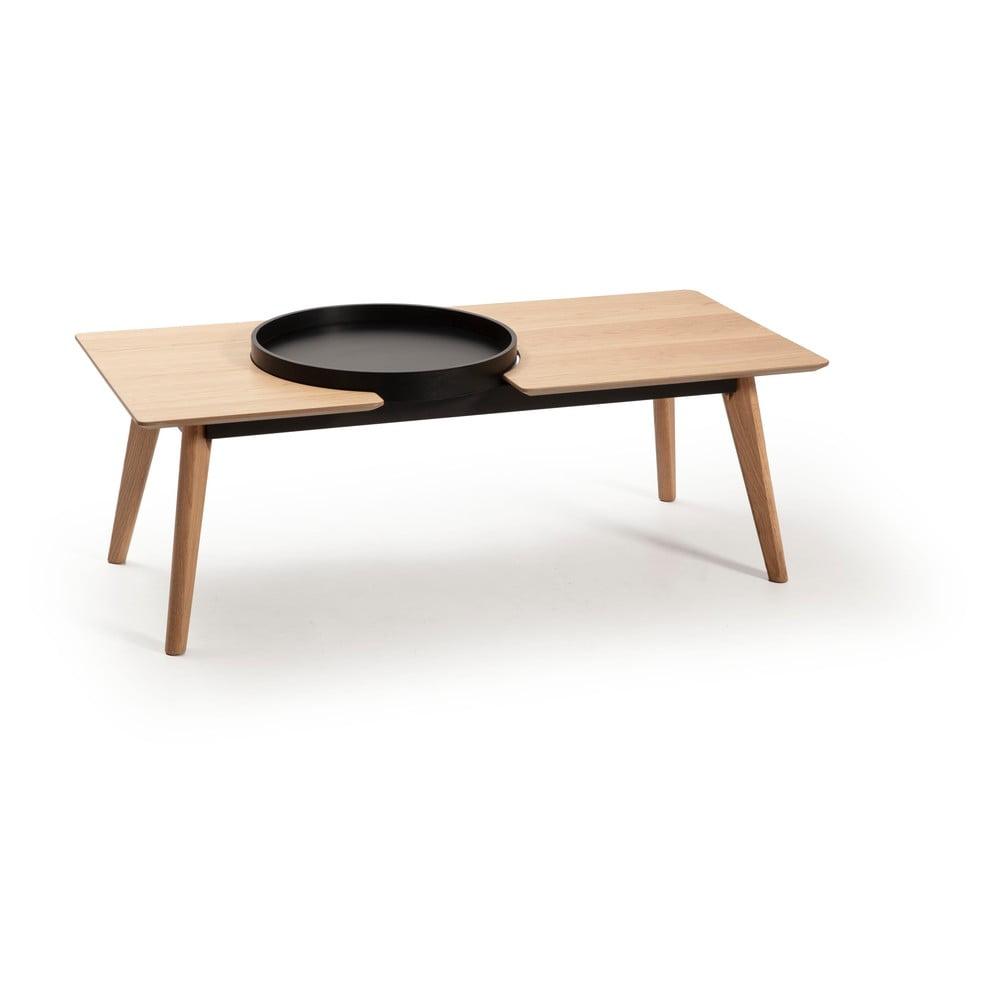 Hnědý konferenční stolek s nohami z dubového dřeva Marckeric India