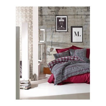 Lenjerie de pat din bumbac ranforce și cearșaf Jonas Claret Red, 200 x 220 cm de la Cotton Box