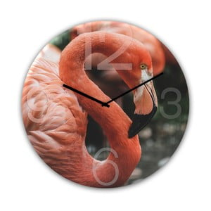 Nástěnné hodiny Styler Glassclock Flamingo, ⌀ 30 cm