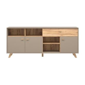 Comodă cu 3 uși și sertar cu aspect de lemn de stejar Germania Calvi, gri