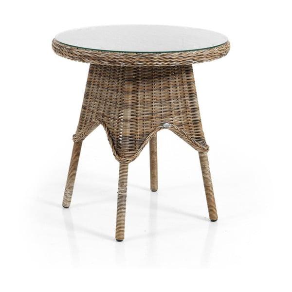 Hnědý zahradní stolek se skleněnou deskou Brafab Paulina, ⌀70cm