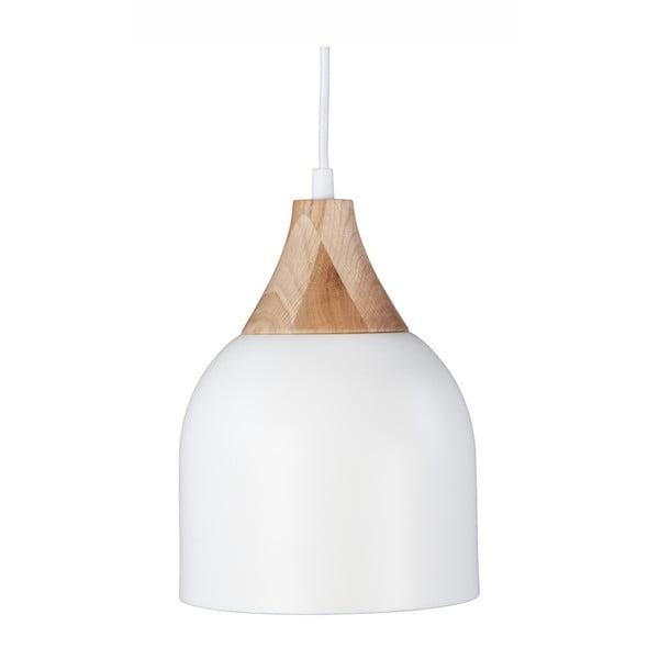 Bílé závěsné svítidlo z dubového dřeva a oceli Nørdifra Bettty