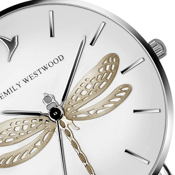 Dámské hodinky s páskem z pravé kůže v bílé barvě Emily Westwood Fly