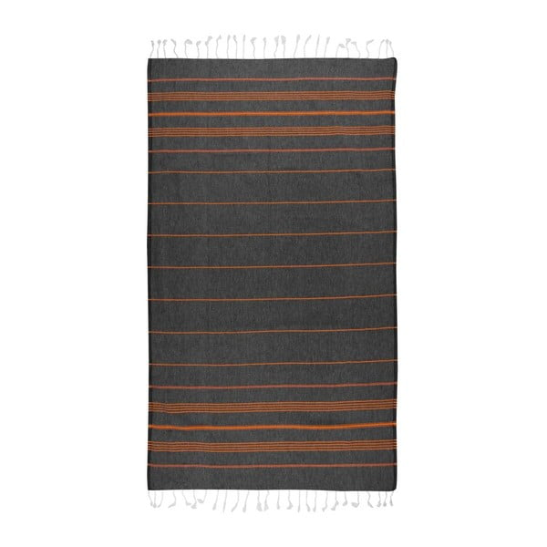 Prosop hammam Cross Black Orange, 95x175 cm