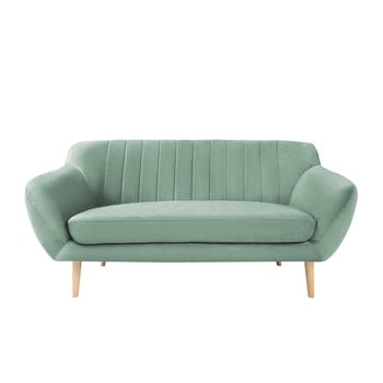 Canapea cu 2 locuri și picioare de culoare deschisă Mazzini Sofas Sardaigne verde mentă