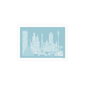 Plakát Las Vegas Blue&White, 50x70 cm