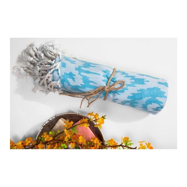 Světle modrá hammam osuška z bavlněných a bambusových vláken Begonville Legacy, 180x95cm