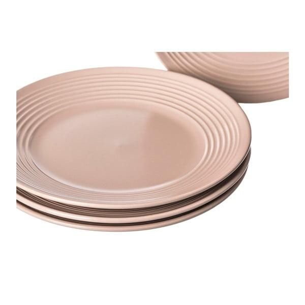 Sada 4 béžových kameninových talířů Unimasa Classic, průměr21,5cm