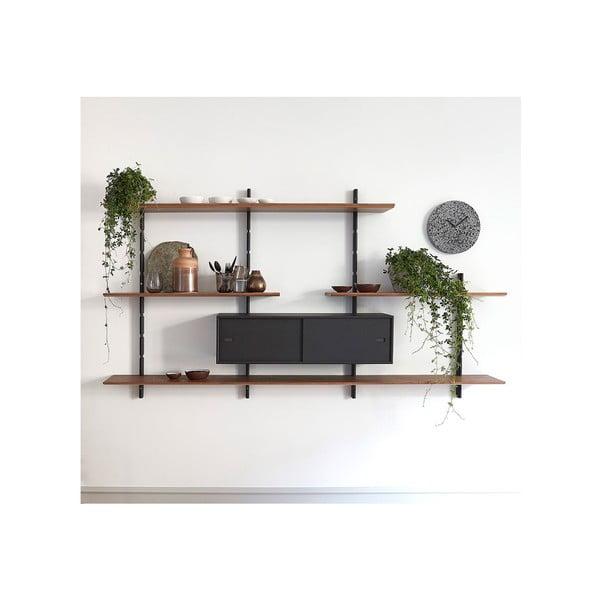 Tmavě hnědá nástěnná skříň k policovým dílům Less WOOD AND VISION Cabinet, 96 x 26 cm
