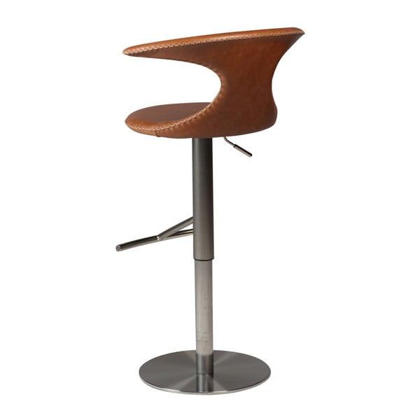Hnědá barová nastavitelná židle s koženým sedákem DAN-FORM Denmark Flair