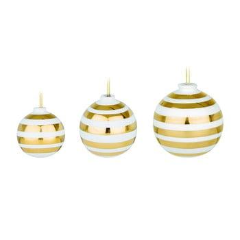 Set 3 ornamente din ceramică pentru pomul de Crăciun cu detalii aurii Kähler Design Omaggio, alb de la Kähler Design