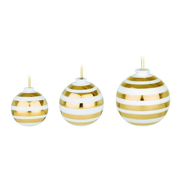 Set 3 globuri de Crăciun din ceramică Kähler Design Omaggio, alb-auriu