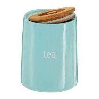 Recipient pentru ceai cu capac din lemn de bambus Premier Housewares Fletcher, 800 ml, albastru de la Premier Housewares