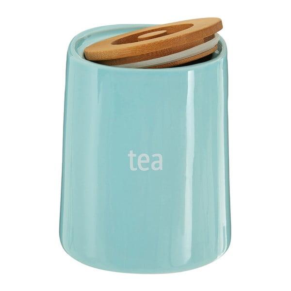 Niebieski pojemnik na herbatę z bambusowym wieczkiem Premier Housewares Fletcher, 800 ml
