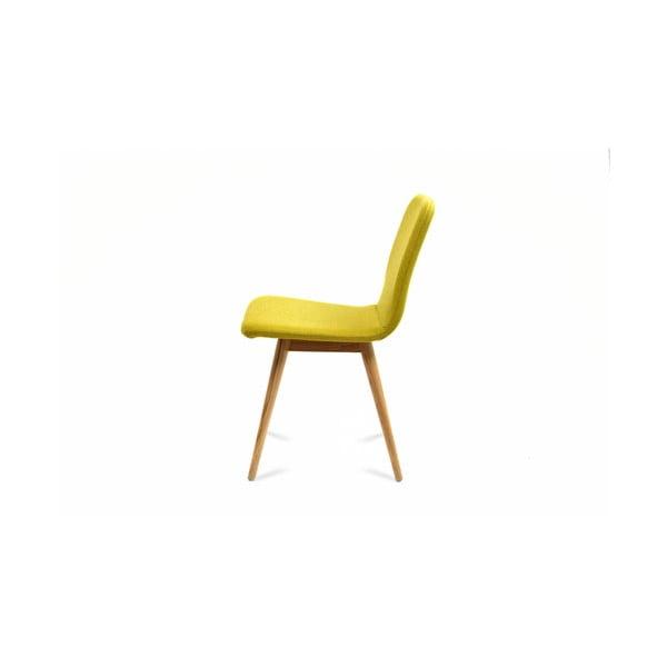 Žlutá židle z dubového dřeva Gazzda Ena