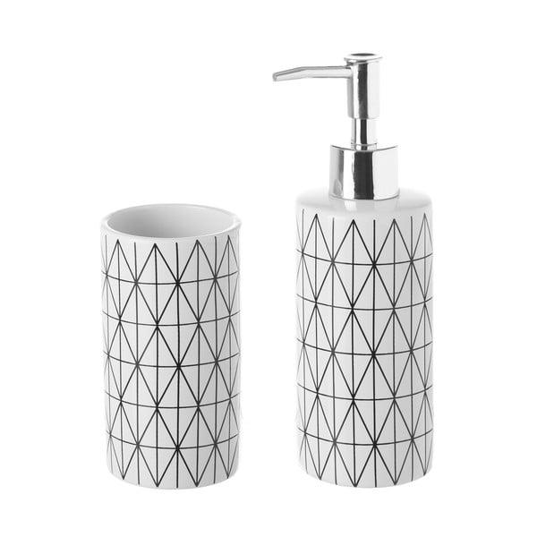 Geometry kerámia szappanadagoló és pohár szett - Unimasa