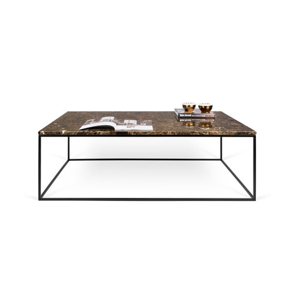 Hnědý mramorový konferenční stolek s černými nohami TemaHome Gleam, 120cm