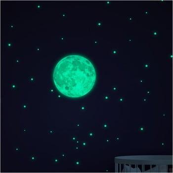 Set autocolante fosforescente de perete Ambiance Moon Small Stars de la Ambiance