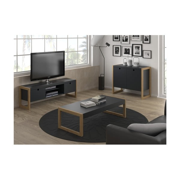 Masă TV Marckeric Square, 140 x 45 cm, gri antracit