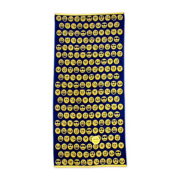 Čierno-žltá plážová bavlnená osuška Bergner Emoticon, 75×150cm