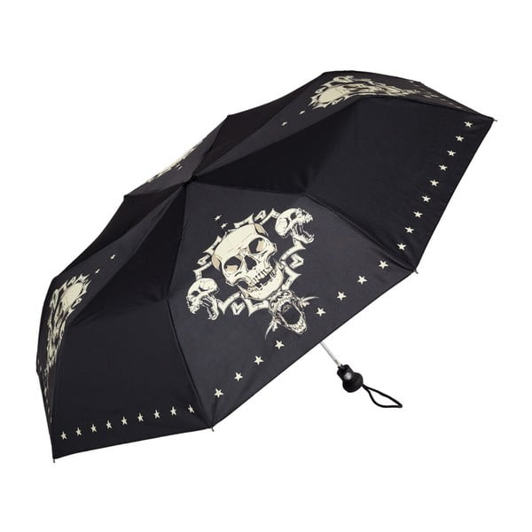 Čierny skladací dáždnik Von Lilienfeld Skull, ø 90 cm