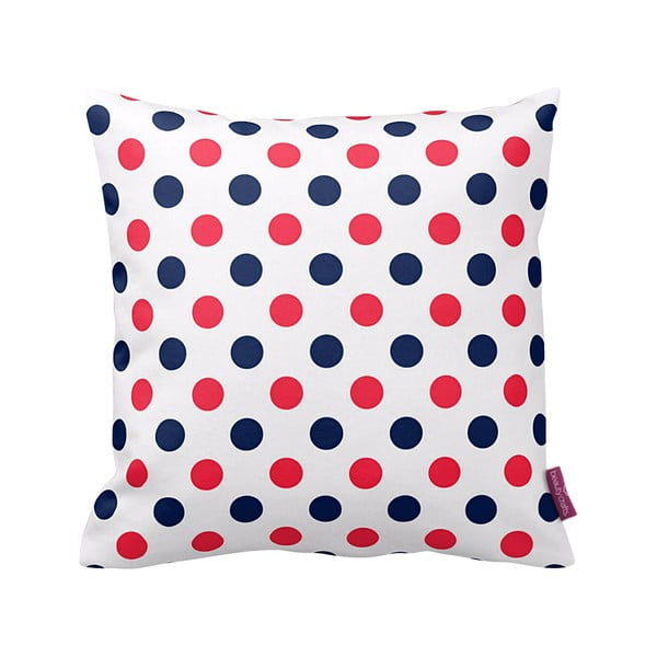 Polštář Red and Navy Dots, 43x43 cm
