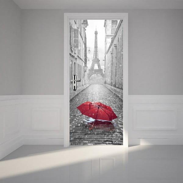 Adhezívna samolepka na dvere Ambiance Eiffel Tower and Umbrella, 83 x 204 cm