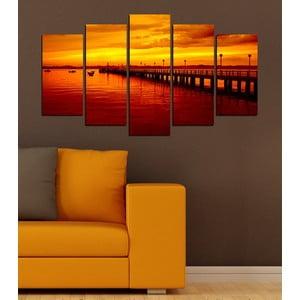 5dílný obraz Západ slunce nad vodou