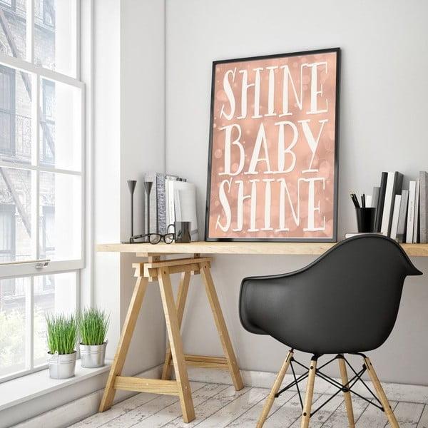 Plakát v dřevěném rámu Shine baby shine, 38x28 cm