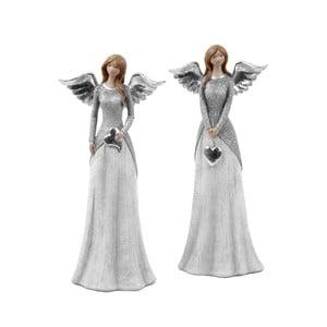 Sada 2 dekorativních andělů s šedým kabátkem Ego Dekor Selma, výška25,5cm