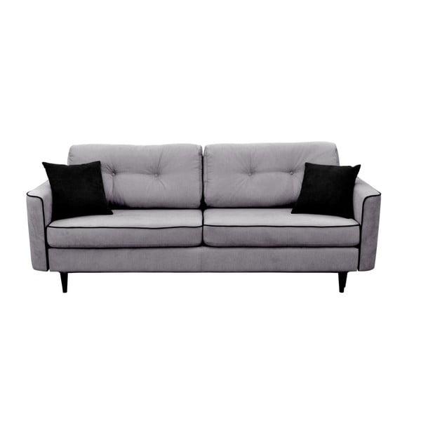 Magnolia szürke kinyitható kanapé fekete lábakkal - Mazzini Sofas