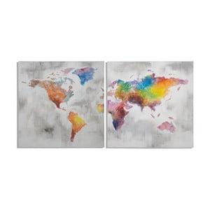 Sada 2 ručně malovaných obrazů Mauro Ferretti Crazy World, 100x100cm