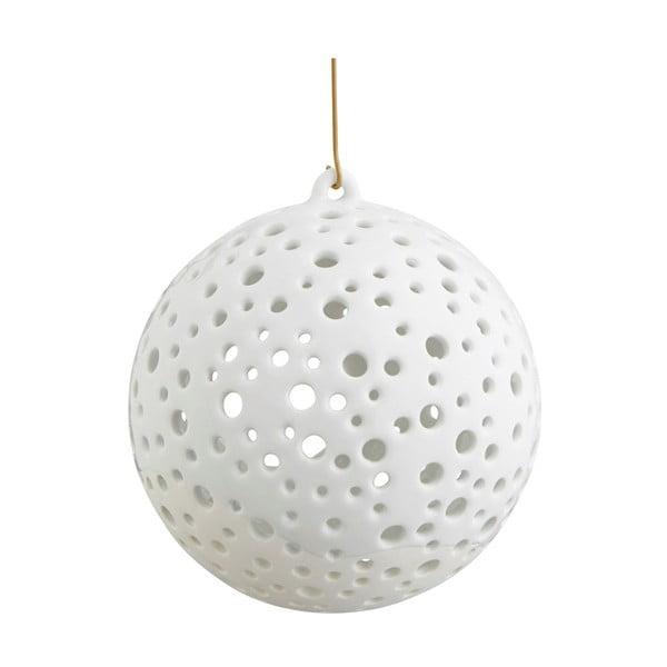 Sfeșnic suspendat din porțelan chinezesc pentru Crăciun Kähler Design Nobili, ⌀ 12 cm, alb
