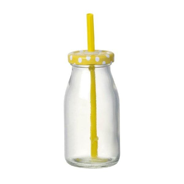Skleněná lahev s brčkem Bottle Yellow