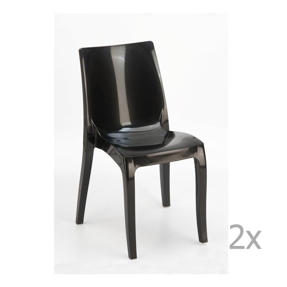 Sada 2 černých jídelních židlí Castagnetti Fashion