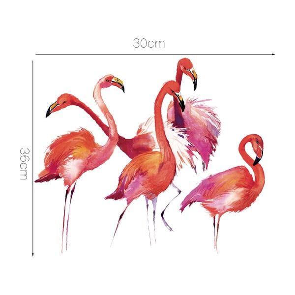 Autocolant Ambiance Flamingos cu 20 cristale decorative