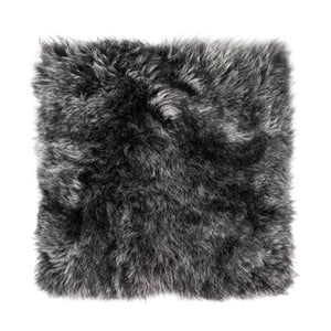 Antracitový kožešinový podsedák s dlouhým chlupem Arctic Fur Eglé, 37x37cm