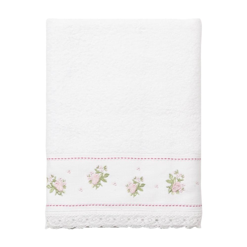 Bílý ručník Clayre&Eef Batteux,140x70cm