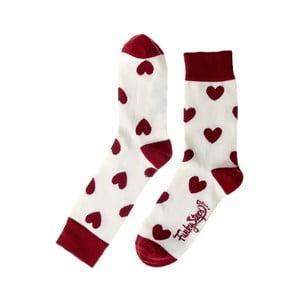 Červeno-bílé ponožky Funky Steps Love, velikost 35 – 39