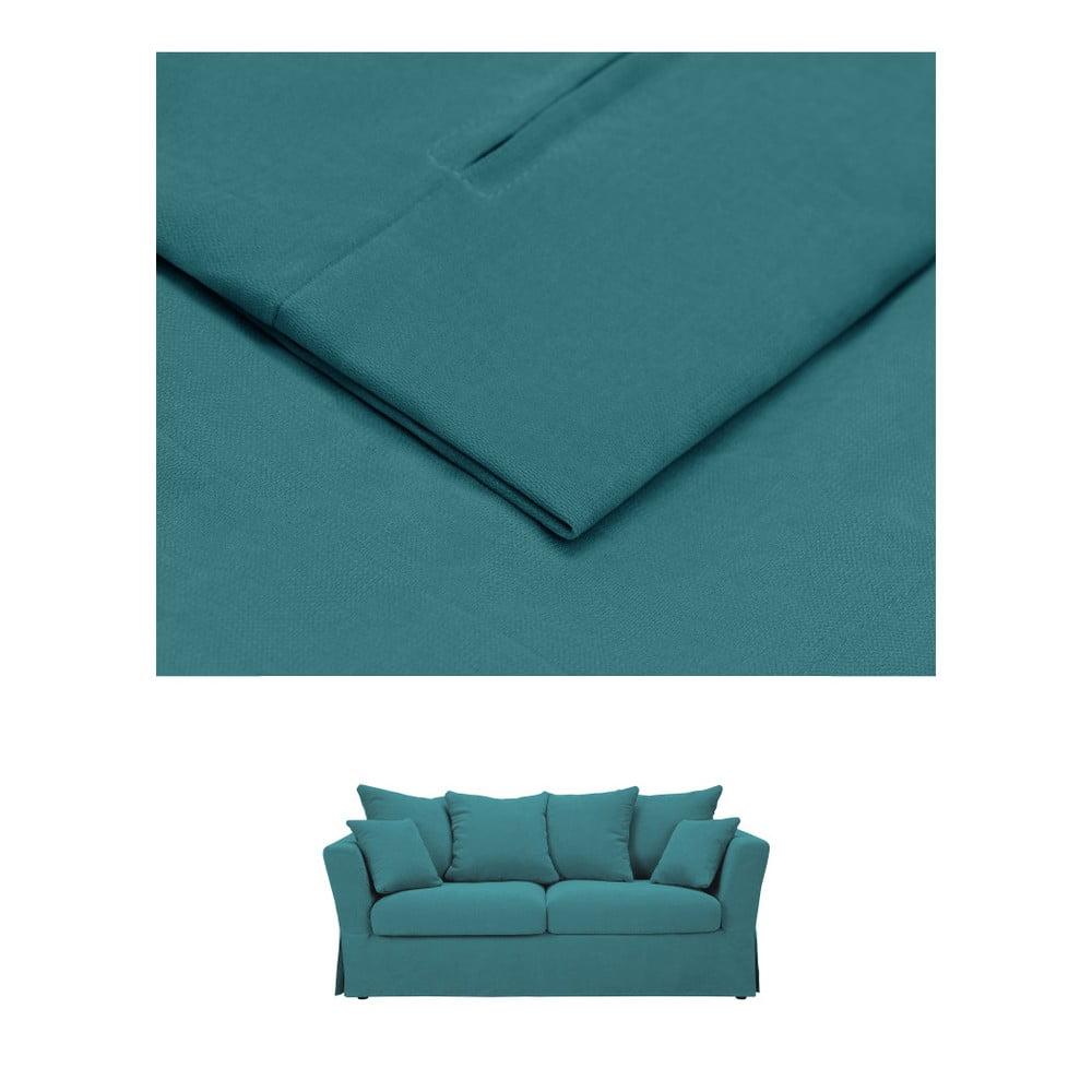 Tyrkysový povlak na trojmístnou rozkládací pohovku THE CLASSIC LIVING Helene