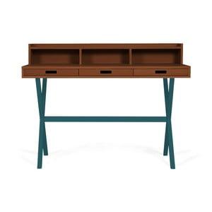 Pracovní stůl z ořechového dřeva s petrolejově modrými kovovými nohami HARTÔ Hyppolite, 120x55cm
