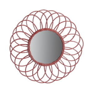 Červené zrcadlo z ratanu a kovu Red Cartel Sunflower, Ø 70 cm