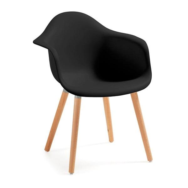 Kenna fekete fotel natúr lábakkal - La Forma