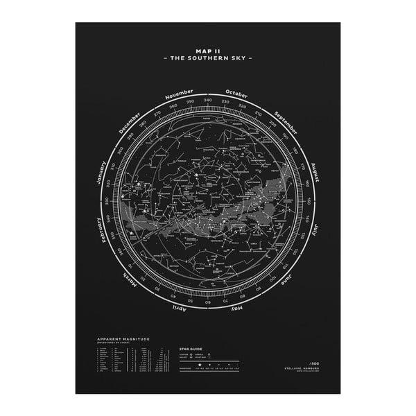 Plakát The Southern Sky Silver/White//Black, 50x70 cm