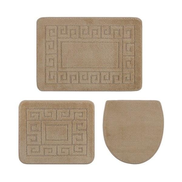 Zestaw 3 beżowych dywaników łazienkowych i pokrowca na klapę WC Confetti Ethnic, 40x50 cm
