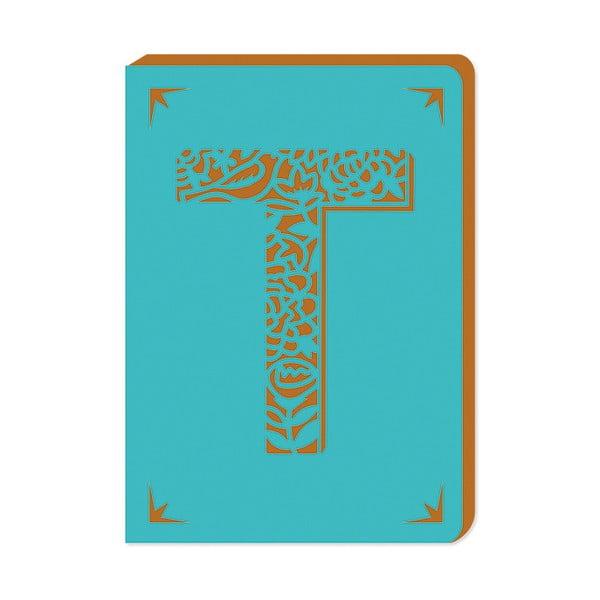 Linkovaný zápisník A6 s monogramem Portico Designs T, 160stránek