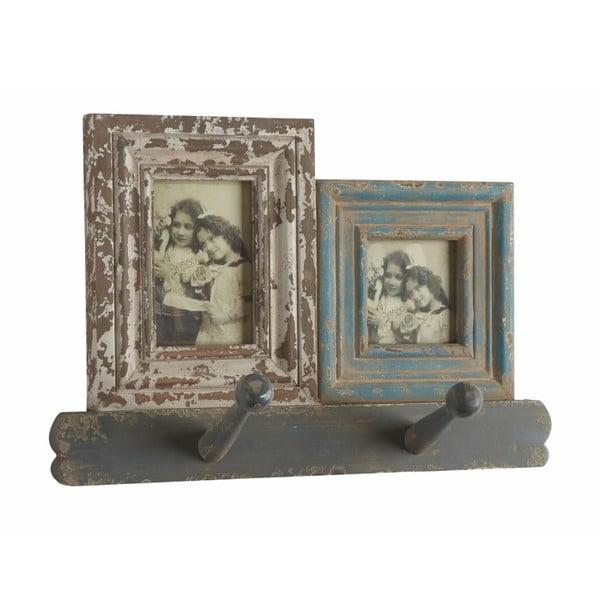 Dřevěný věšák s fotorámečky, 26x38x12 cm