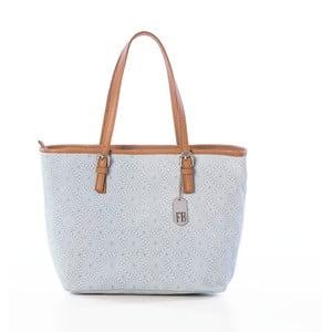 Bílo-šedá kožená kabelka Federica Bassi Girandola