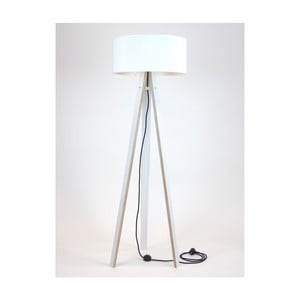 Lampadar cu abajur alb și cablu negru Ragaba Wanda, alb