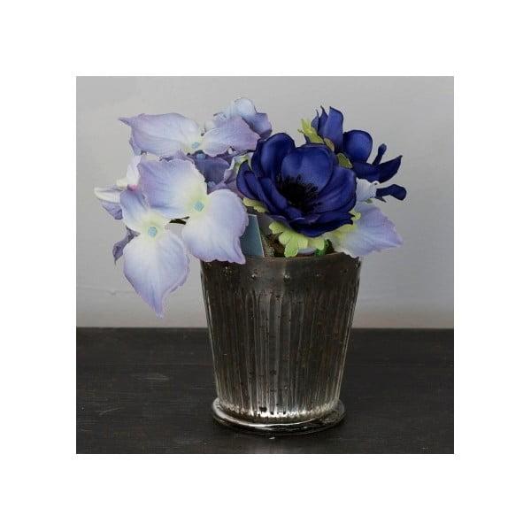 Skleněná váza s umělou květinou Hydrangea, 16 cm